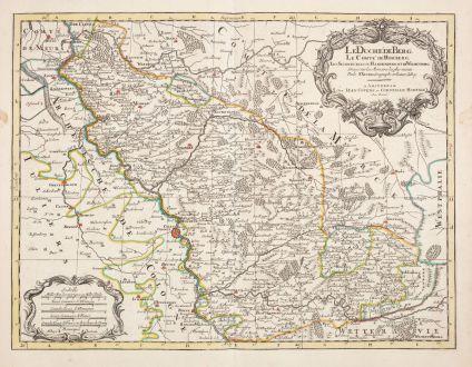 Antike Landkarten, Sanson, Deutschland, Nordrhein-Westfalen, 1730: Le Duche de Berg, le Comte de Homberg, les Seigneuries de Hardenberg, et de Wildenborg