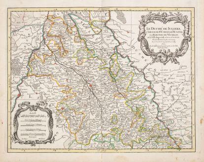 Antike Landkarten, Sanson, Deutschland, Nordrhein-Westfalen, 1680: Le Duche de Iuliers...