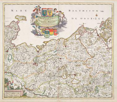 Antique Maps, de Wit, Germany, Mecklenburg-Vorpommern, 1680: Ducatus Meklenburgicus in quo sunt Ducatus Vandaliae et Meklenburgi Ducatus et Comitatus Swerinensis