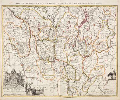Antike Landkarten, Covens and Mortier, Deutschland, Brandenburg, 1730: Land-Charte des Chur-Fürstenthums Brandenburg