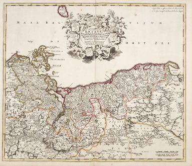 Antike Landkarten, de Wit, Polen, Mecklenburg-Vorpommern, Pommern, 1680: Ducatus Pomeraniae Tabula Generalis...