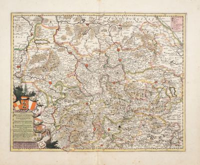 Antike Landkarten, de Wit, Deutschland, Niedersachsen, 1680: Ducatus Brunsuicensis in Eiusdem tres Principatus Calenbergicum...