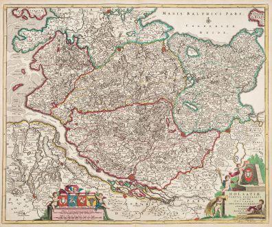 Antique Maps, de Wit, Germany, Schleswig-Holstein, 1720: Holsatiae Tabula Generalis...