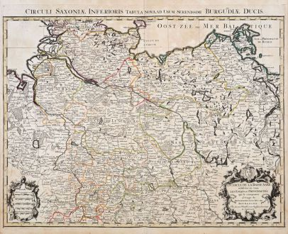 Antike Landkarten, Sanson, Deutschland, Norddeutschland, 1690: Le Cercle de la Basse Saxe / Circuli Saxoniae Interioris...