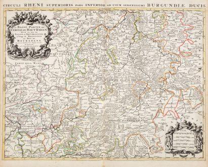 Antike Landkarten, Jaillot, Deutschland, Hessen, 1730: La Basse Partie du Cercle du Haut Rhein / Circuli Rheni Superioris...