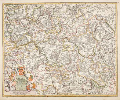 Antique Maps, de Wit, Germany, Hesse, 1680: Archiepiscopatus et Electoratus Moguntini et adjacentium Regionum, ut Landgraviatum Hasso Darmstadiensis ...