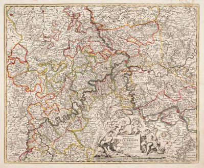 Antique Maps, de Wit, Germany, Rhineland-Palatinate, 1680: Archiepiscopatus et Electoratus Trevirensis Novissima Delineatio ... Tabula Accurate Describitur Eyfalia Tractus