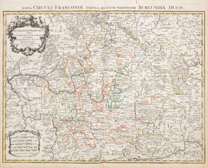 Antique Maps, Sanson, Germany, Bavaria, 1680: Le Cercle de Franconie ...