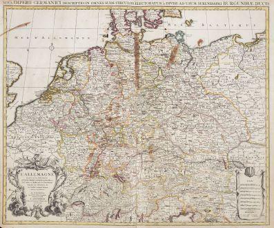 Antike Landkarten, de l Isle, Deutschland, Deutschland, 1730: L' Allemagne, Dressee sur les Observations de Tycho-Brahe, de Kepler, de Snellius / Nova Imperii Germanici ...