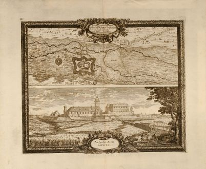Antique Maps, Pufendorf, Poland, Lowicz, 1697: Ichnographia operum Quibus SRM Sueciae Louitzium. Arcem et Sedem. Archi Episcopi Gnesnensis / Prospectus Arcis Lovitzii