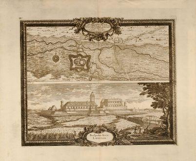 Antike Landkarten, Pufendorf, Polen, Lowicz, 1697: Ichnographia operum Quibus SRM Sueciae Louitzium. Arcem et Sedem. Archi Episcopi Gnesnensis / Prospectus Arcis Lovitzii
