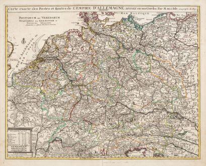 Antike Landkarten, de l Isle, Deutschland, Deutschland, 1730: Carte Exacte des Postes et Routes de l'Empire d'Allemagne Divisee en ses Cercles / Postarum seu Veredarum
