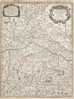 Antike Landkarten, Sanson, Deutschland, Bayern, 1680: Le Cercle De Baviere / Nova Circuli Bavariae Tabula