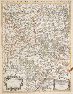 Antike Landkarten, Jaillot, Deutschland, Nordrhein-Westfalen, 1690: Le Cercle Eslectoral du Rhein divise en touts les Estats qui le composent