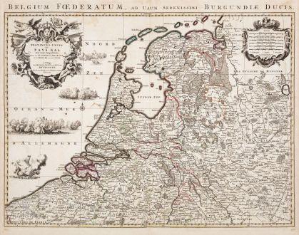 Antike Landkarten, Jaillot, Niederlande, 1730: Provinces Unies des Pays-Bas / Belgium Foederatum