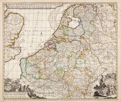 Antike Landkarten, Jaillot, Niederlande, 1730: XVII Provinces des Pays-Bas / Belgii XVII. Provintiarum