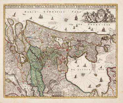 Antique Maps, de Wit, Netherlands, 1720: Comitatus Hollandiae Tabula Pluribus Locis Recens Emendata a Frederico de Wit