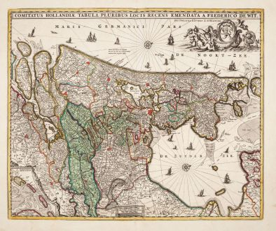 Antike Landkarten, de Wit, Niederlande, 1720: Comitatus Hollandiae Tabula Pluribus Locis Recens Emendata a Frederico de Wit