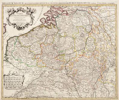 Antique Maps, de l Isle, Belgium, 1730: Carte des Pays Bas Catholiques / Belgium Regium