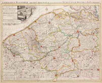 Antike Landkarten, Jaillot, Belgien, Flandern (Vlaanderen), 1715: Comitatus Flandriae tam Oriet quam Occid