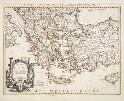 Antique Maps, de l Isle, Greece, 1730: Carte de la Grece / Accurata totius Archipelagi et Graeciae