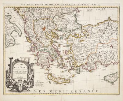 Antike Landkarten, de l Isle, Griechenland, 1730: Carte de la Grece / Accurata totius Archipelagi et Graeciae