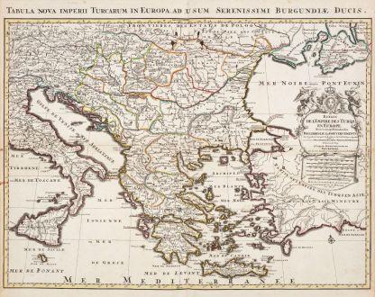 Antique Maps, Jaillot, Turkey, 1730: Estats de l'Empire des Turqs en Europe / Tabula Nova Imperii Turcarum