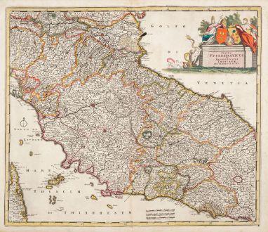 Antique Maps, de Wit, Italy, Toscana, Lazio, Umbria, Marche, 1680: Status Ecclesiasticus et Magnus Ducatus Thoscanae ...
