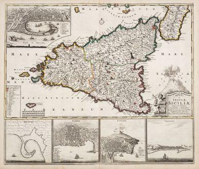Antike Landkarten, de Wit, Italien, Sizilien (Sicilia), 1715: Regni et Insulae Siciliae