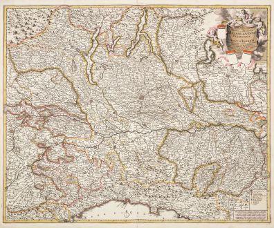 Antike Landkarten, de Wit, Italien, Lombardei, Lombardia, 1680: Nova et prae Caeteris Aliis Status et Ducatus Mediolanensis Parmensis et Montis Ferrati