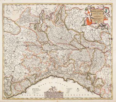 Antique Maps, de Wit, Italy, Lombardy, Lombardia, 1680: Status et Ducatus Mediolanensis Reipublicae Genuensis et Ducatus Parmensis et Montisferrati Novissima Descriptio