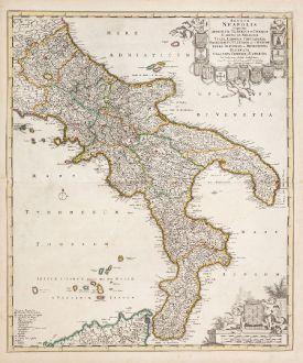 Antique Maps, de Wit, Italy, Calabria, Puglia, Basilicata, Campania, Molise: Regnum Neapolis in quo sunt Aprutium Ulterius et Citerius ...