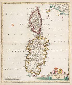 Antike Landkarten, de Wit, Italien, Sardinien und Korsika, 1720: Insularum Sardiniae et Corsicae Descriptio