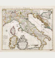 Carte Particuliere des Postes de l'Italie. Par Mr. Baudrand