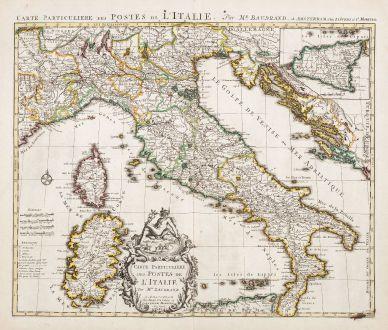 Antique Maps, Covens and Mortier, Italy, 1730: Carte Particuliere des Postes de l'Italie. Par Mr. Baudrand