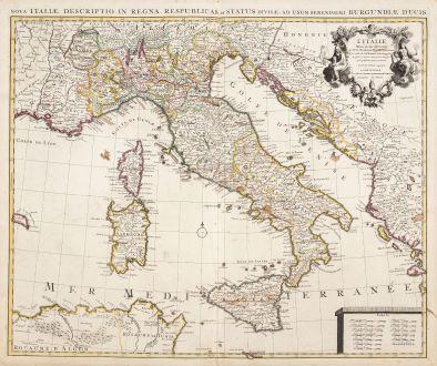Antique Maps, de l Isle, Italy, 1730: L'Italie, Dressee sur les Observations de Mrs. de l'Academie Royale des Sciences
