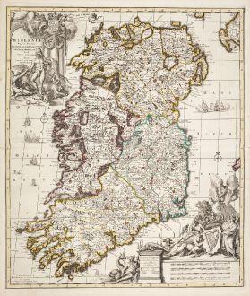 Antike Landkarten, Allard, Irland, 1730: Hyberniae Regni in Provincias Ultoniam, Connachian, Lageniam, Momoniamq Divisi Tabula Accuratissima ...
