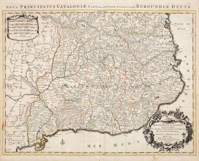Antique Maps, Jaillot, Spain - Portugal, Catalunya, Cataluna, Catalonia: Principaute de Catalogne ou sont Compris les Comtes de Roussillon et de Cerdagne Divises en leurs Vigueries