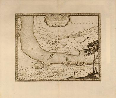 Antike Landkarten, von Pufendorf, Polen, Vistula, Weichsel, 1697: Situs loci in quo Situs loci in quo Sereniss: Princ. Sueciæ General.mus subito - Vistulam inter Montower Spitz et paruum...