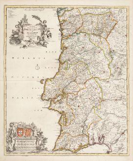 Antike Landkarten, de Wit, Spanien - Portugal, 1720: Novissima Regnorum Portugalliae et Algarbiae Descriptio ...
