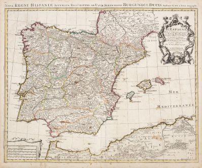 Antique Maps, de l Isle, Spain - Portugal, 1730: L'Espagne Dressee sur la Description qui en a ete Faite par Rodrigo Mendez Sylva ...
