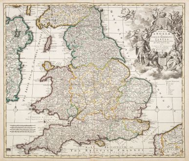 Antique Maps, Allard, British Isles, England, 1730: Regni Angliae et Walliae Principatus Tabula, Divisa in LII Regiones, Anglice Shire Dicatas