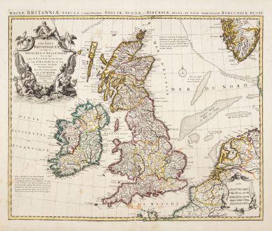 Antike Landkarten, de l Isle, Britische Inseln, Britische Inseln, 1730: Les Isles Britanniques ou sont le Royaumes d'Angleterre