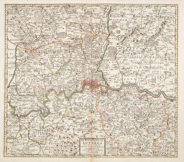 Antike Landkarten, Covens and Mortier, Britische Inseln, London, 1730: Les Environs de Londres
