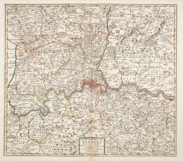 Antique Maps, Covens and Mortier, British Isles, London, 1730: Les Environs de Londres