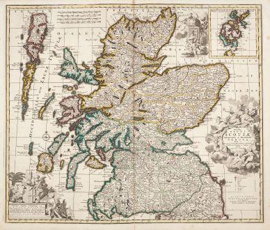 Antike Landkarten, Allard, Britische Inseln, Schottland, 1730: Novissima Regni Scotiae Septentrionalis et Meridionalis Tabula ...