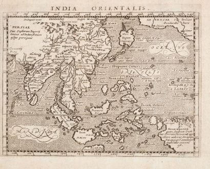 Antique Maps, Magini, Southeast Asia, 1596: India Orientalis