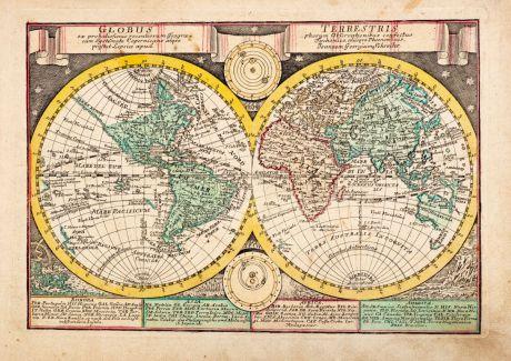 Antike Landkarten, Schreiber, Weltkarte, 1740-49: Globus Terrestris ex Probatissimis Recentiorum ...