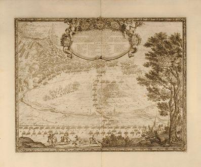 Antike Landkarten, von Pufendorf, Polen, Gniezno, Gnesen, 1697: Praelium ad Gnesnam