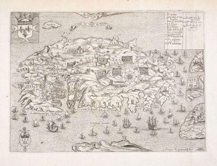 Antique Maps, Raigniauld, Malta, 1629 or 1640: Isle et Siege de Malte
